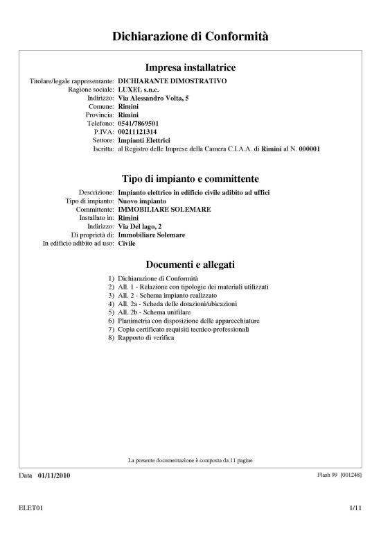 Software Per Elettricisti E Idraulici Esempi Stampa Dichiarazione